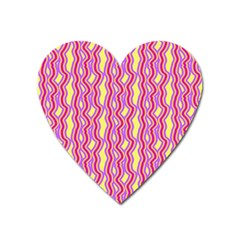 Pink Yelllow Line Light Purple Vertical Heart Magnet by Alisyart