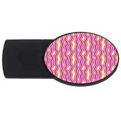 Pink Yelllow Line Light Purple Vertical Usb Flash Drive Oval (2 Gb) by Alisyart