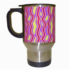 Pink Yelllow Line Light Purple Vertical Travel Mugs (white) by Alisyart