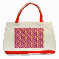 Pink Yelllow Line Light Purple Vertical Classic Tote Bag (red) by Alisyart