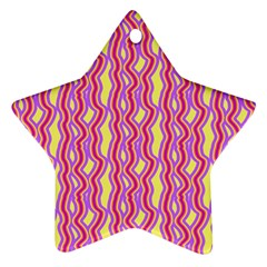 Pink Yelllow Line Light Purple Vertical Star Ornament (two Sides)