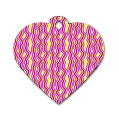 Pink Yelllow Line Light Purple Vertical Dog Tag Heart (two Sides) by Alisyart