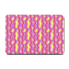 Pink Yelllow Line Light Purple Vertical Small Doormat  by Alisyart