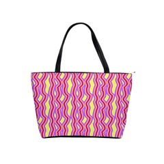 Pink Yelllow Line Light Purple Vertical Shoulder Handbags