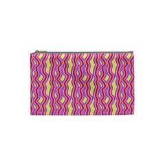 Pink Yelllow Line Light Purple Vertical Cosmetic Bag (small)  by Alisyart