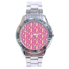 Pink Yelllow Line Light Purple Vertical Stainless Steel Analogue Watch by Alisyart