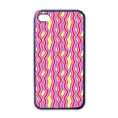 Pink Yelllow Line Light Purple Vertical Apple Iphone 4 Case (black) by Alisyart