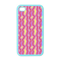 Pink Yelllow Line Light Purple Vertical Apple Iphone 4 Case (color)