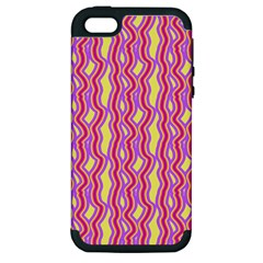 Pink Yelllow Line Light Purple Vertical Apple Iphone 5 Hardshell Case (pc+silicone) by Alisyart