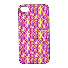 Pink Yelllow Line Light Purple Vertical Apple Iphone 4/4s Hardshell Case With Stand by Alisyart