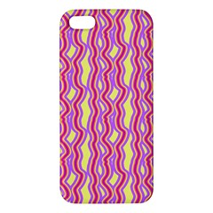 Pink Yelllow Line Light Purple Vertical Apple Iphone 5 Premium Hardshell Case by Alisyart