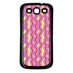 Pink Yelllow Line Light Purple Vertical Samsung Galaxy S3 Back Case (black) by Alisyart