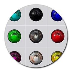 9 Power Buttons Round Mousepads