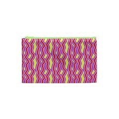 Pink Yelllow Line Light Purple Vertical Cosmetic Bag (xs) by Alisyart
