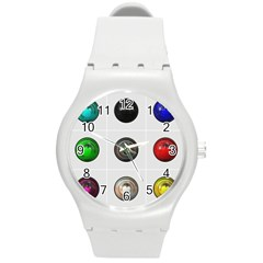 9 Power Buttons Round Plastic Sport Watch (m) by Simbadda