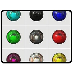 9 Power Buttons Double Sided Fleece Blanket (large)  by Simbadda