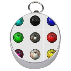 9 Power Buttons Silver Compasses by Simbadda