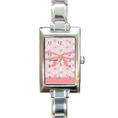 Pink Plaid Circle Rectangle Italian Charm Watch by Alisyart