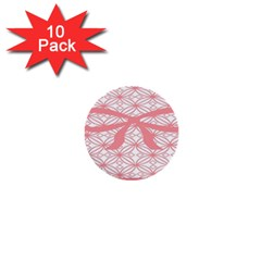 Pink Plaid Circle 1  Mini Buttons (10 Pack)  by Alisyart