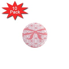 Pink Plaid Circle 1  Mini Magnet (10 Pack)  by Alisyart