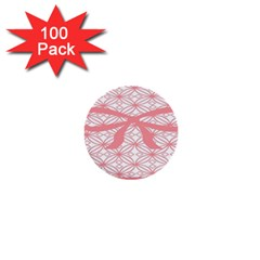 Pink Plaid Circle 1  Mini Buttons (100 Pack)