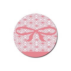 Pink Plaid Circle Rubber Round Coaster (4 Pack)  by Alisyart