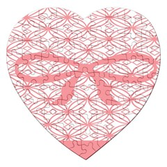 Pink Plaid Circle Jigsaw Puzzle (heart) by Alisyart