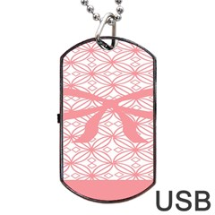 Pink Plaid Circle Dog Tag Usb Flash (one Side) by Alisyart