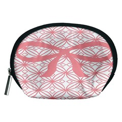 Pink Plaid Circle Accessory Pouches (medium)  by Alisyart