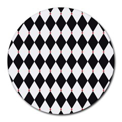Plaid Triangle Line Wave Chevron Black White Red Beauty Argyle Round Mousepads