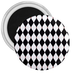 Plaid Triangle Line Wave Chevron Black White Red Beauty Argyle 3  Magnets by Alisyart