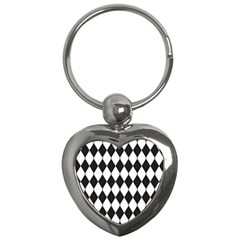 Plaid Triangle Line Wave Chevron Black White Red Beauty Argyle Key Chains (heart)