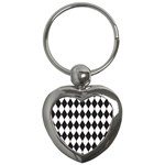 Plaid Triangle Line Wave Chevron Black White Red Beauty Argyle Key Chains (Heart)  Front