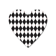 Plaid Triangle Line Wave Chevron Black White Red Beauty Argyle Heart Magnet by Alisyart