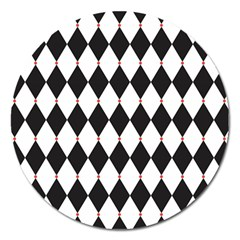 Plaid Triangle Line Wave Chevron Black White Red Beauty Argyle Magnet 5  (round) by Alisyart