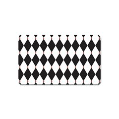 Plaid Triangle Line Wave Chevron Black White Red Beauty Argyle Magnet (name Card) by Alisyart