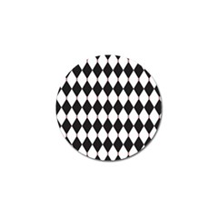 Plaid Triangle Line Wave Chevron Black White Red Beauty Argyle Golf Ball Marker by Alisyart