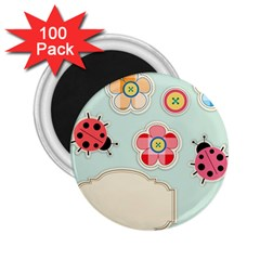 Buttons & Ladybugs Cute 2 25  Magnets (100 Pack)  by Simbadda