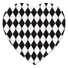Plaid Triangle Line Wave Chevron Black White Red Beauty Argyle Jigsaw Puzzle (heart) by Alisyart