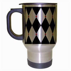 Plaid Triangle Line Wave Chevron Black White Red Beauty Argyle Travel Mug (silver Gray) by Alisyart