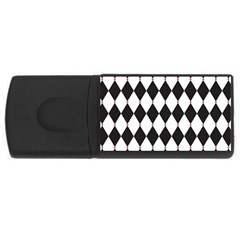 Plaid Triangle Line Wave Chevron Black White Red Beauty Argyle Usb Flash Drive Rectangular (4 Gb)