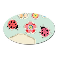 Buttons & Ladybugs Cute Oval Magnet by Simbadda