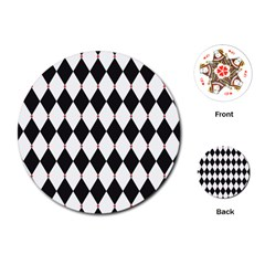 Plaid Triangle Line Wave Chevron Black White Red Beauty Argyle Playing Cards (round)