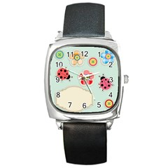 Buttons & Ladybugs Cute Square Metal Watch by Simbadda