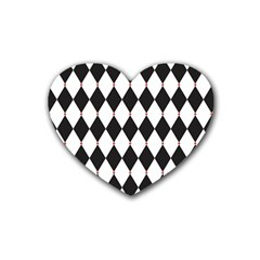 Plaid Triangle Line Wave Chevron Black White Red Beauty Argyle Heart Coaster (4 Pack)  by Alisyart