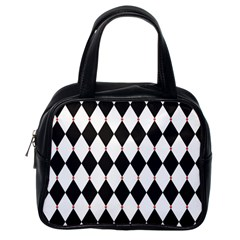 Plaid Triangle Line Wave Chevron Black White Red Beauty Argyle Classic Handbags (one Side)
