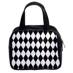 Plaid Triangle Line Wave Chevron Black White Red Beauty Argyle Classic Handbags (2 Sides) by Alisyart