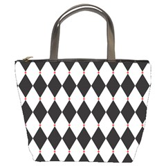 Plaid Triangle Line Wave Chevron Black White Red Beauty Argyle Bucket Bags by Alisyart