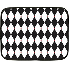 Plaid Triangle Line Wave Chevron Black White Red Beauty Argyle Fleece Blanket (mini) by Alisyart