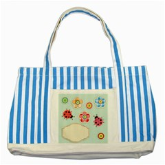 Buttons & Ladybugs Cute Striped Blue Tote Bag by Simbadda